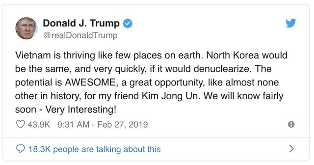 Ông Trump dành lời khen ngợi Việt Nam và gọi ông Kim Jong Un là người bạn - Ảnh 1.