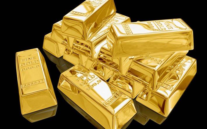 Download wallpapers 3d Gold bars, gold on a black background, 3d gold, gold  bars, finance concepts for desktop free. Pictures for desktop free